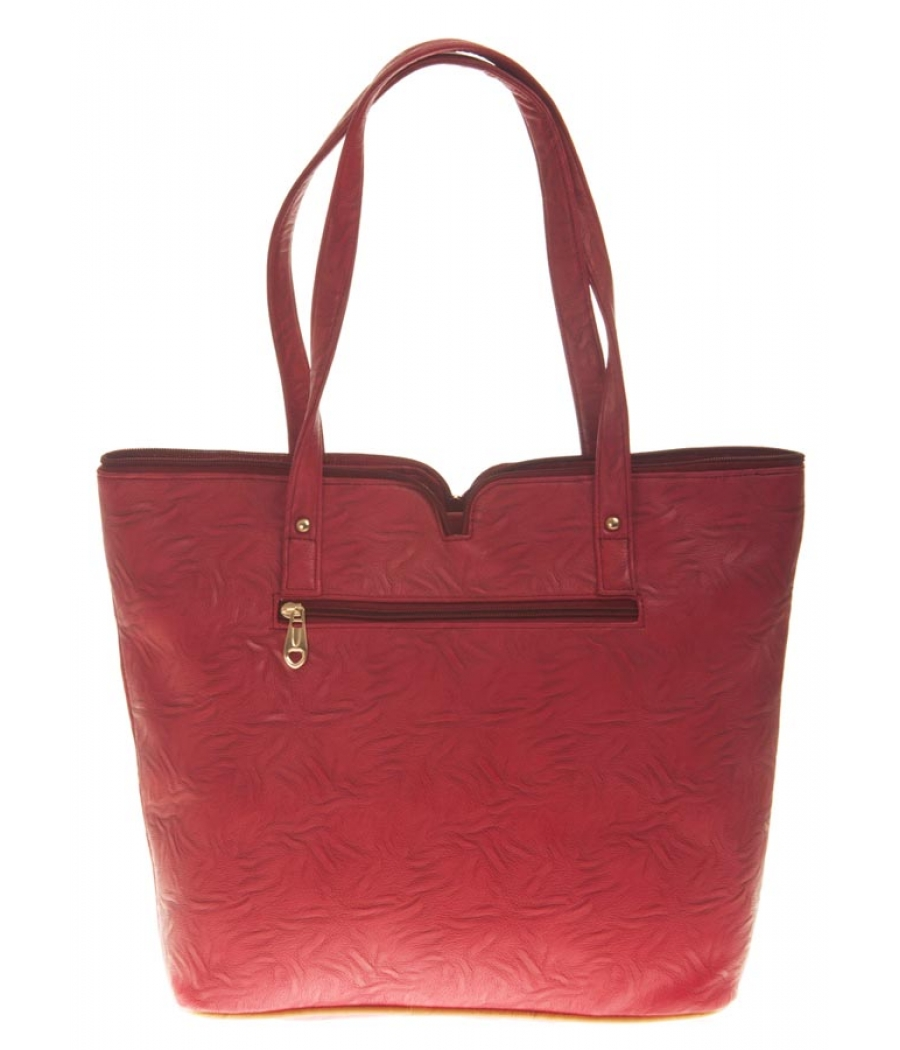 Aliado Faux Leather Solid Maroon & Brown Zipper Closure Tote Bag for Women