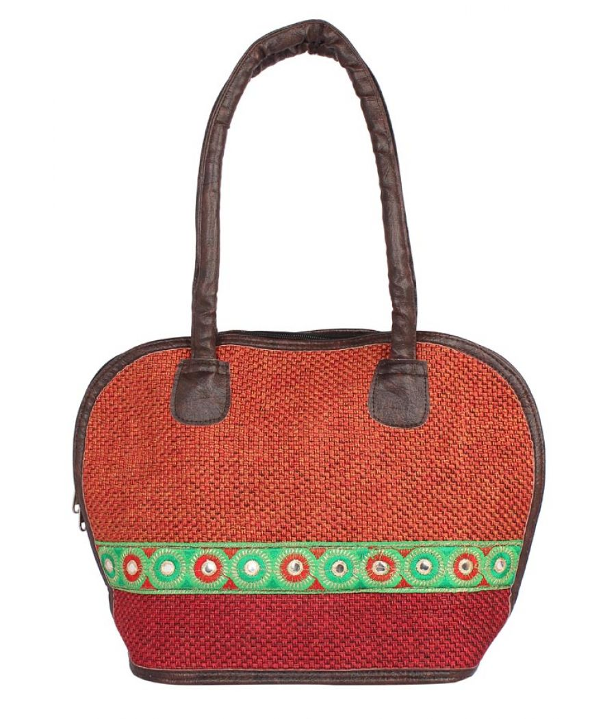 Aliado Cloth Fabric Maroon Coloured Zipper Closure  Handbag