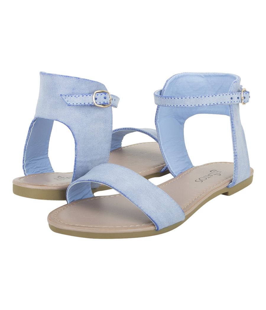 Estatos Frosted Leather Open Toe Ankle Strap Buckle Closure Indigo Flat Sandals for Women