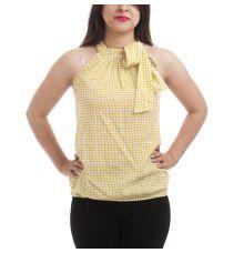 Code Cotton Blend Geometric Print Mustard & White Sleeveless High Neck Top