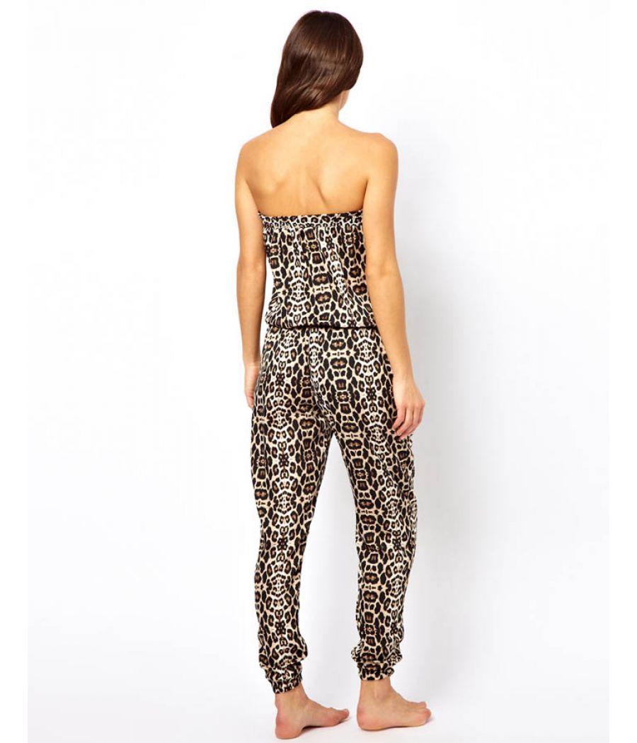 River Island Off Shoulder Leopard Print Jumpsuit