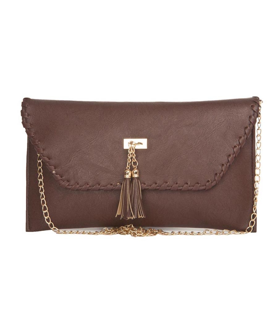 Envie Faux Leather Coffee Brown Fold Over Magnetic Snap Closure Sling Bag