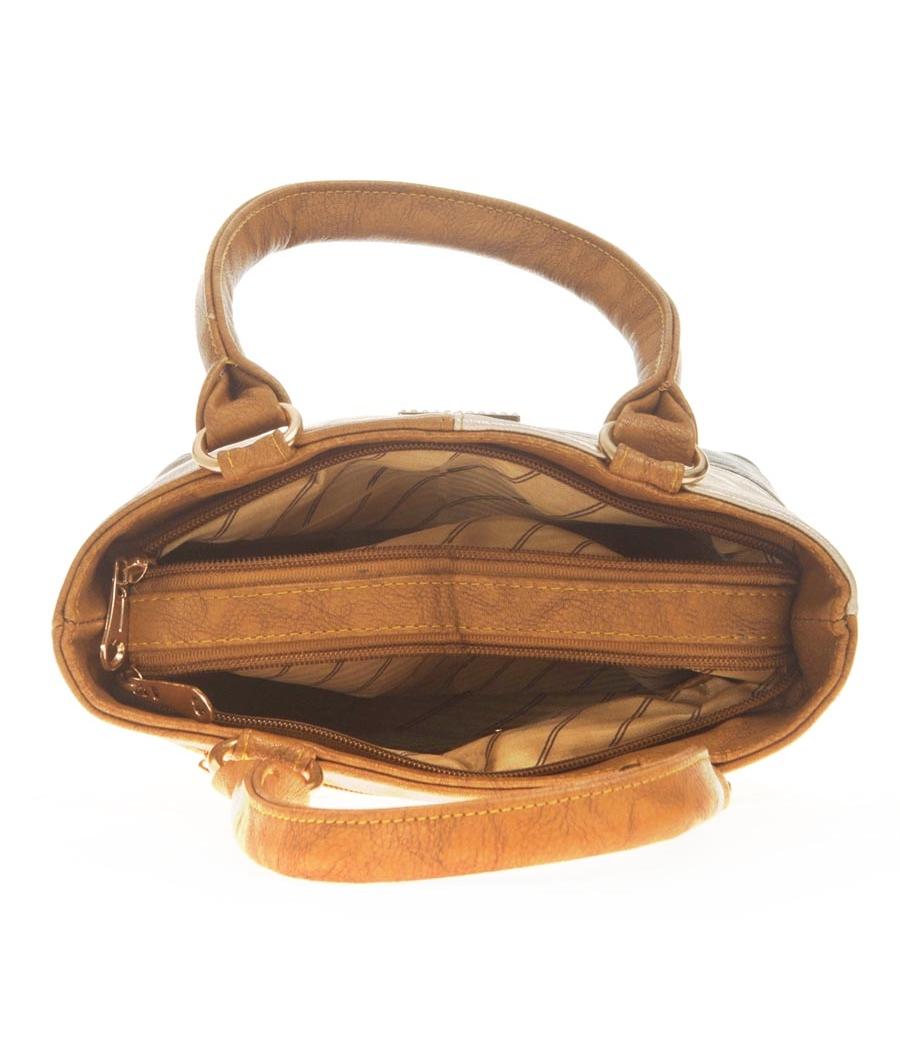Aliado Faux Leather Solid Brown & Black Zipper Closure Tote Bag for Women