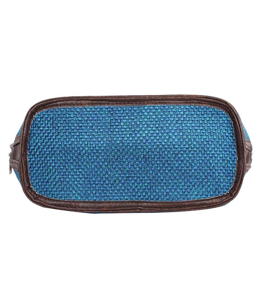 Aliado Cloth Fabric Red and Blue Coloured Zipper Closure  Handbag