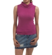 Zxtremz Wool Plain Solid Purple High Neck Sleeveless Casual Top