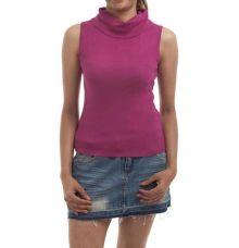 Zxtremz Wool Plain Solid Purple High Neck Sleeveless Casual Top