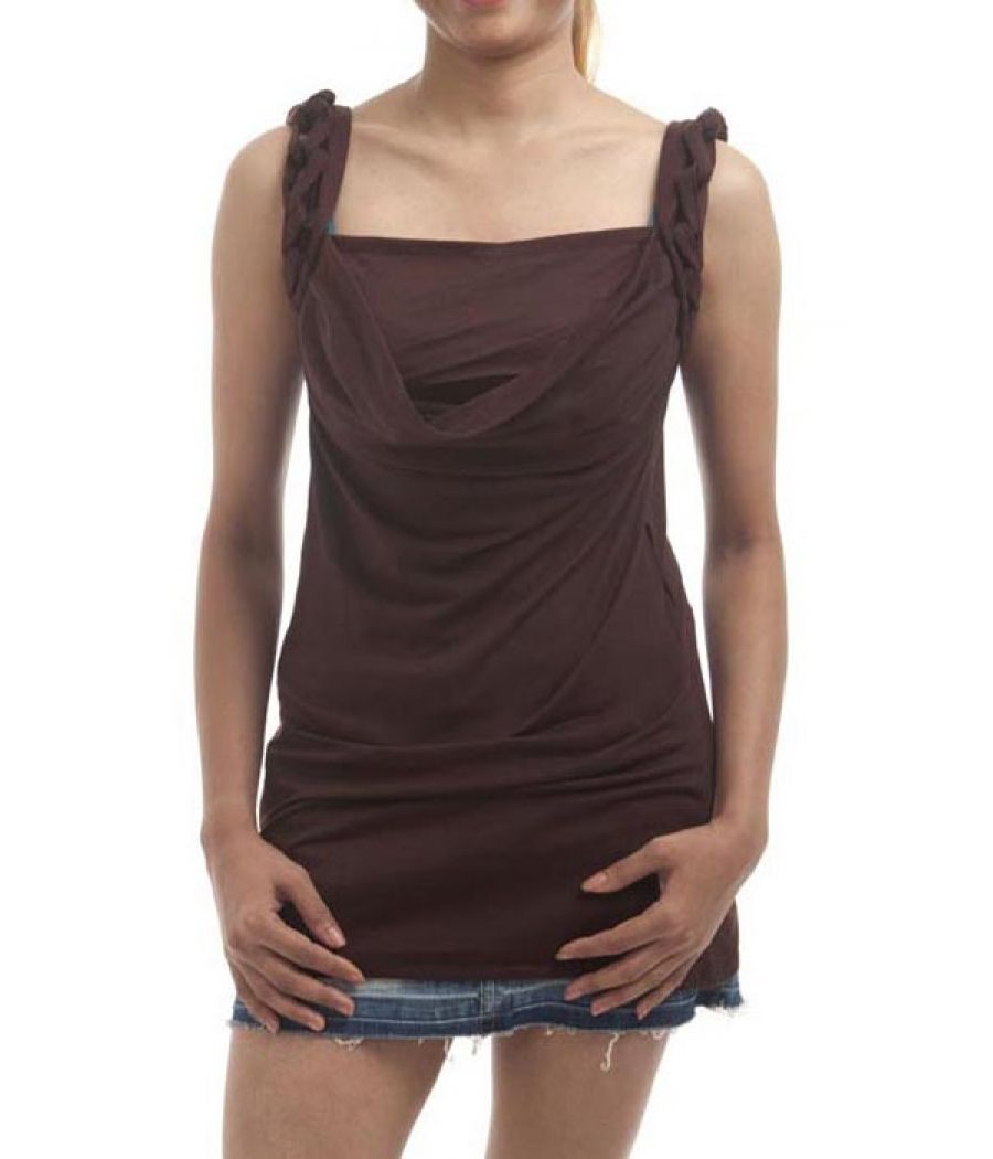 Etashee Certified Hosiery Plain Solid Brown Sleeveless Cowl Neck Top