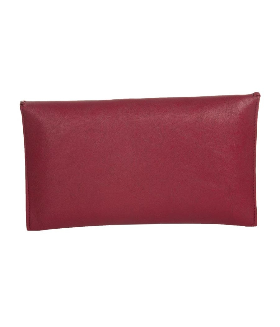Envie Faux Leather Maroon Fold Over Magnetic Snap Closure Sling Bag