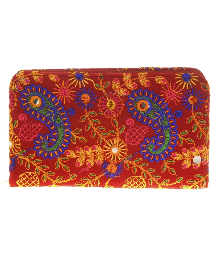 Envie Cloth/Textile/Fabric Red & Multi Zipper Closure Embroidered Wallet