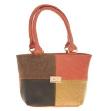 Aliado Faux Leather Solid Multi & Peach Zipper Closure Tote Bag