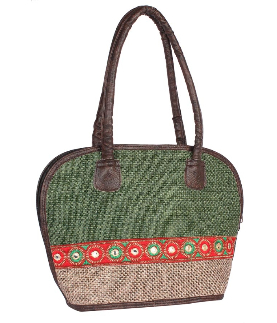 Aliado Cloth Fabric Green and Beige  Coloured Zipper Closure  Handbag