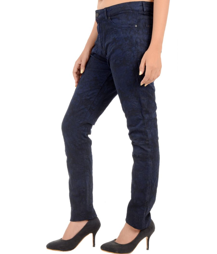 Leara Woman Floral Self Designed Navy Blue Jeans