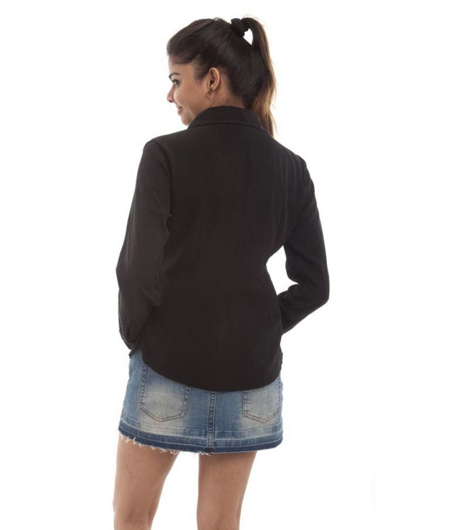 Expozay Cotton Solid Button Closure Black Full Sleeves Formal Shirt