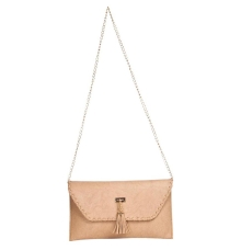 Envie Faux Leather Solid Cream Fold Over Magnetic Snap Sling Bag
