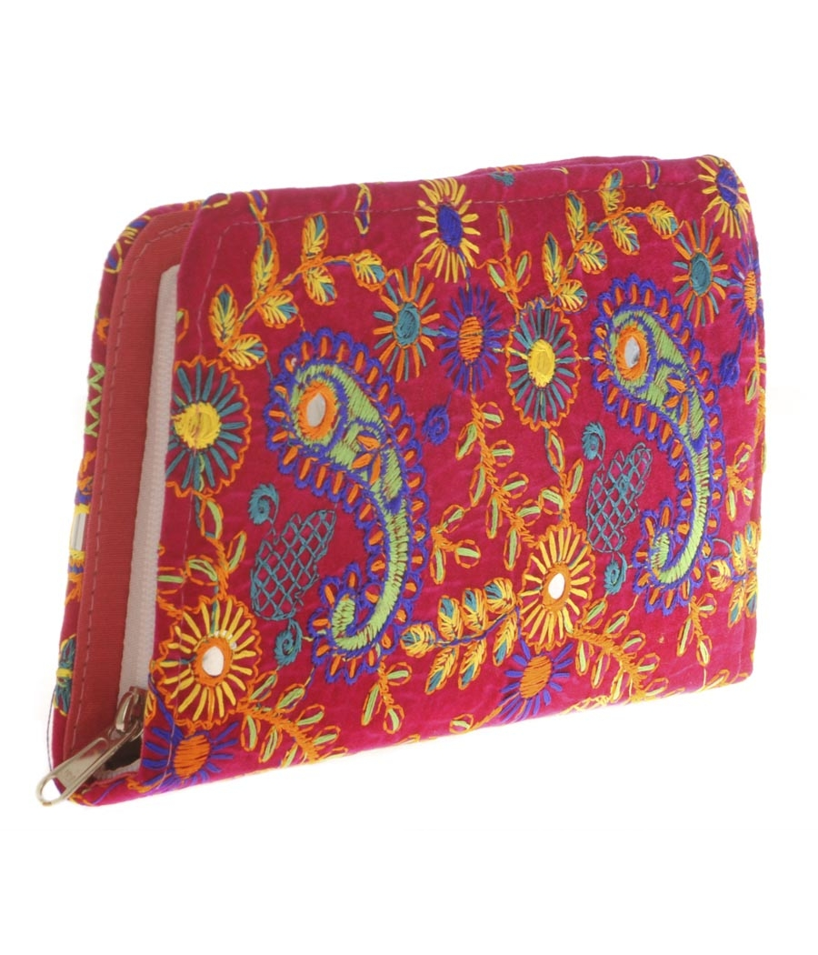 Envie Cloth/Textile/Fabric Embroidered Pink & Multi Zipper Closure Wallet