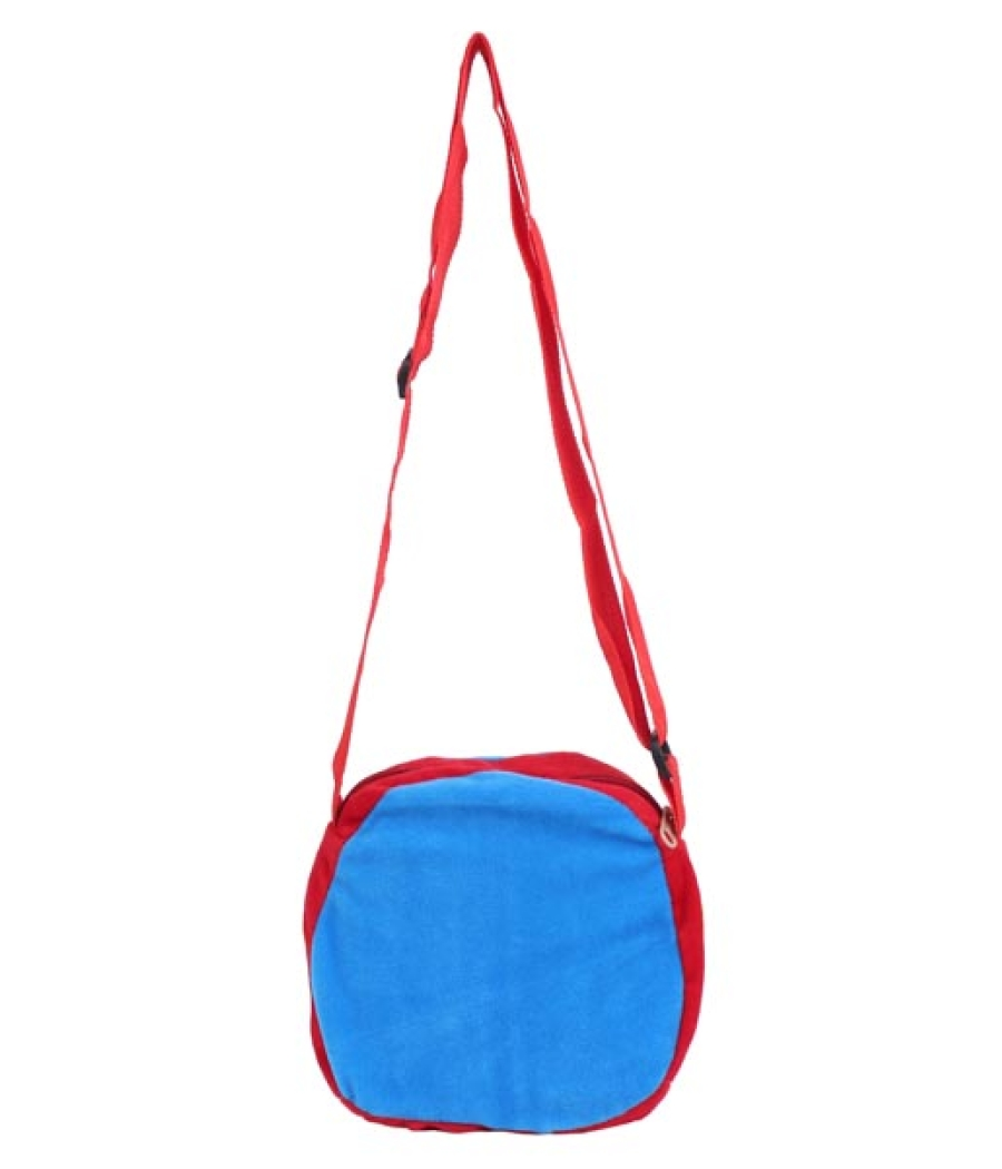 Envie Faux Fur Red and Blue  Coloured Zipper Closure Sling Bag