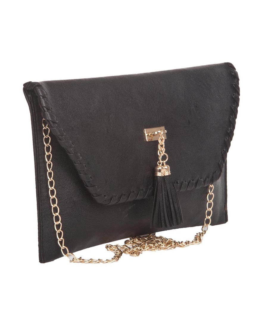 Envie Faux Leather Black Magnetic Snap Closure Envelop Style Sling Bag