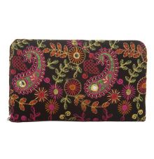 Envie Cloth/Textile/Fabric Black & Multi Zipper Closure Embroidered Clutch