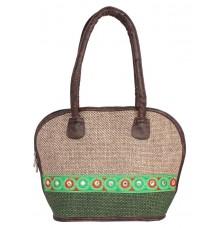Aliado Cloth Fabric beige and Green Coloured Zipper Closure  Handbag