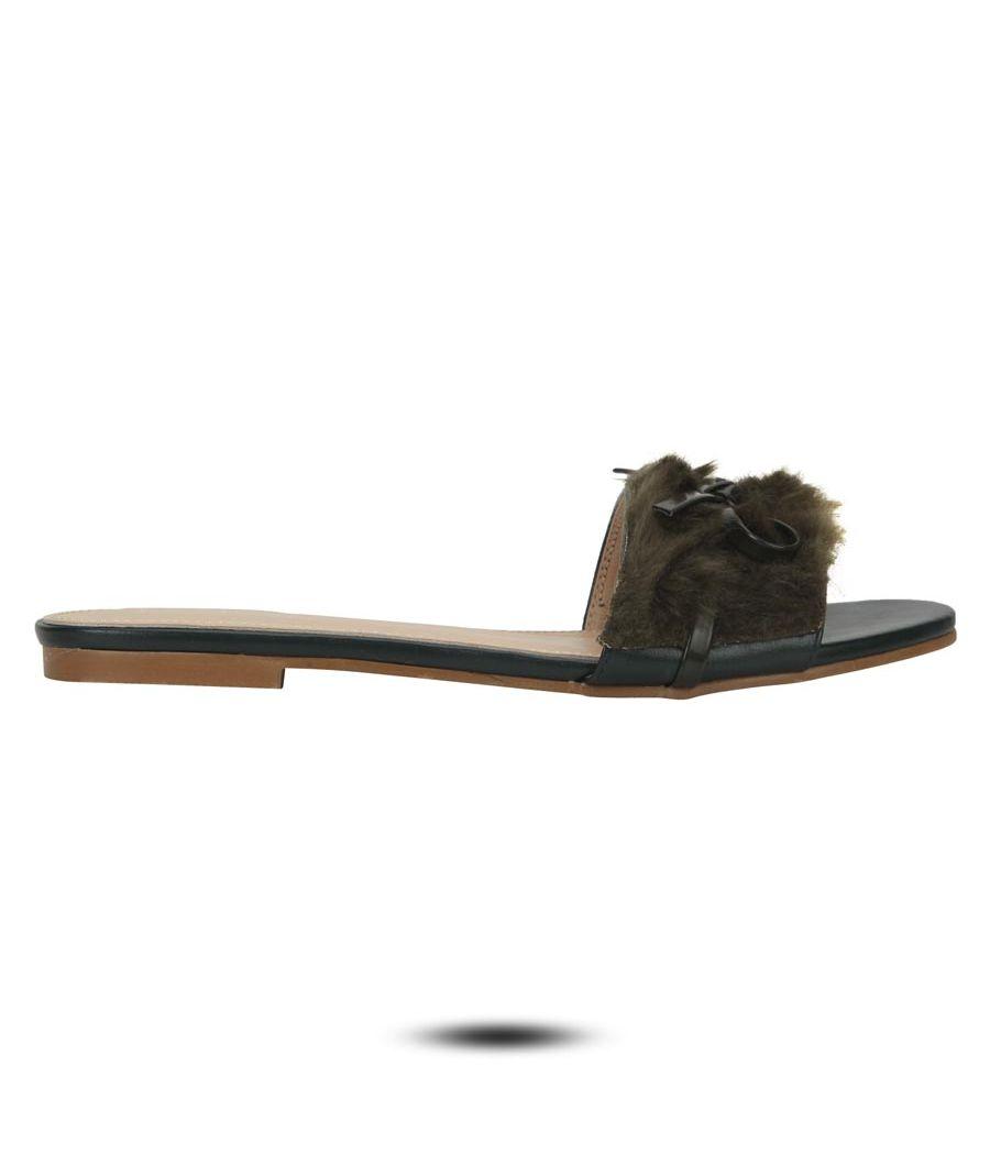 Estatos Leather Olive Single Strap Open Toe Flats