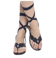 Estatos Leather Navy Blue Wrap Around Strap Open Toe Casual Flat Sandals