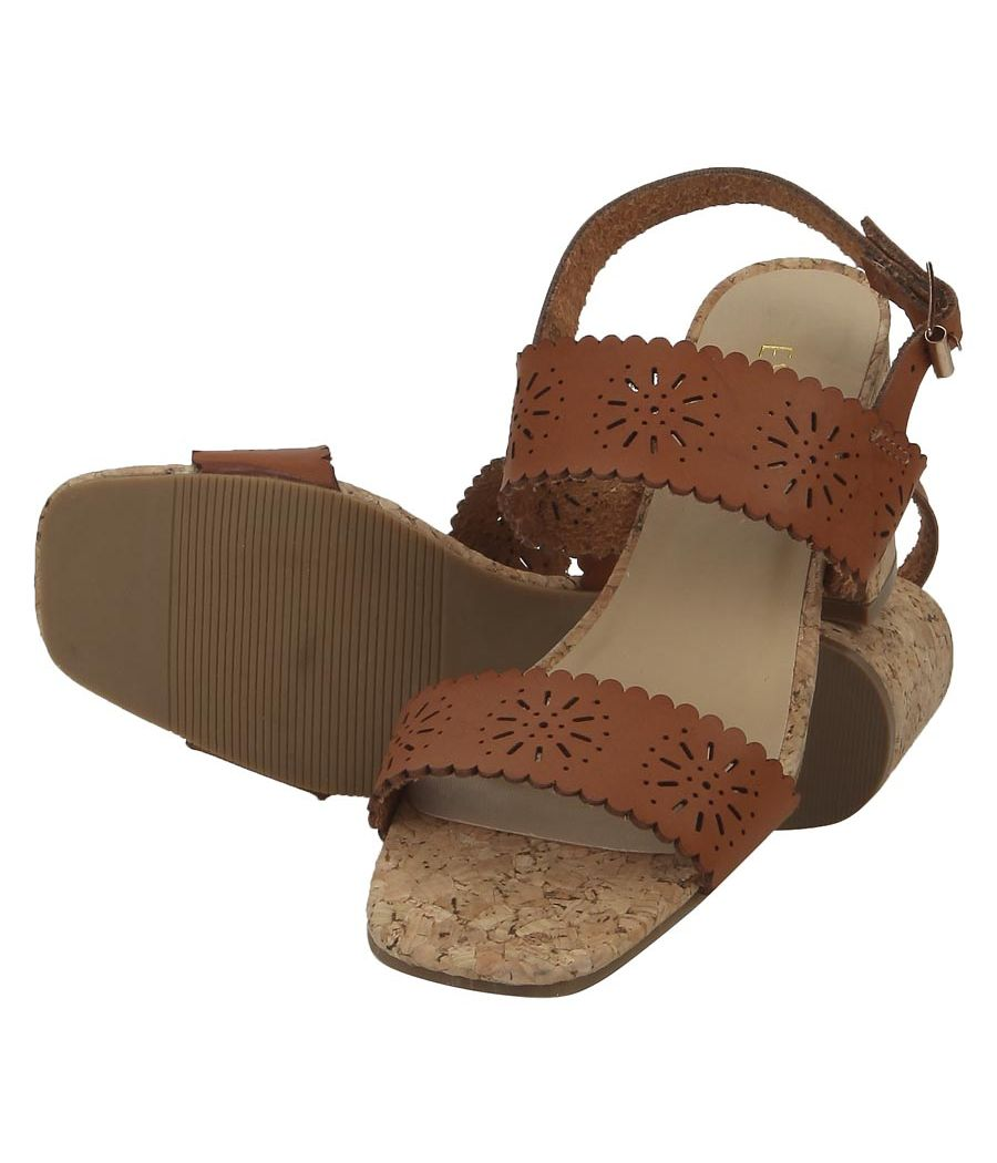 Estatos Leather Brown Coloured Broad Strap Block Heel Sandals