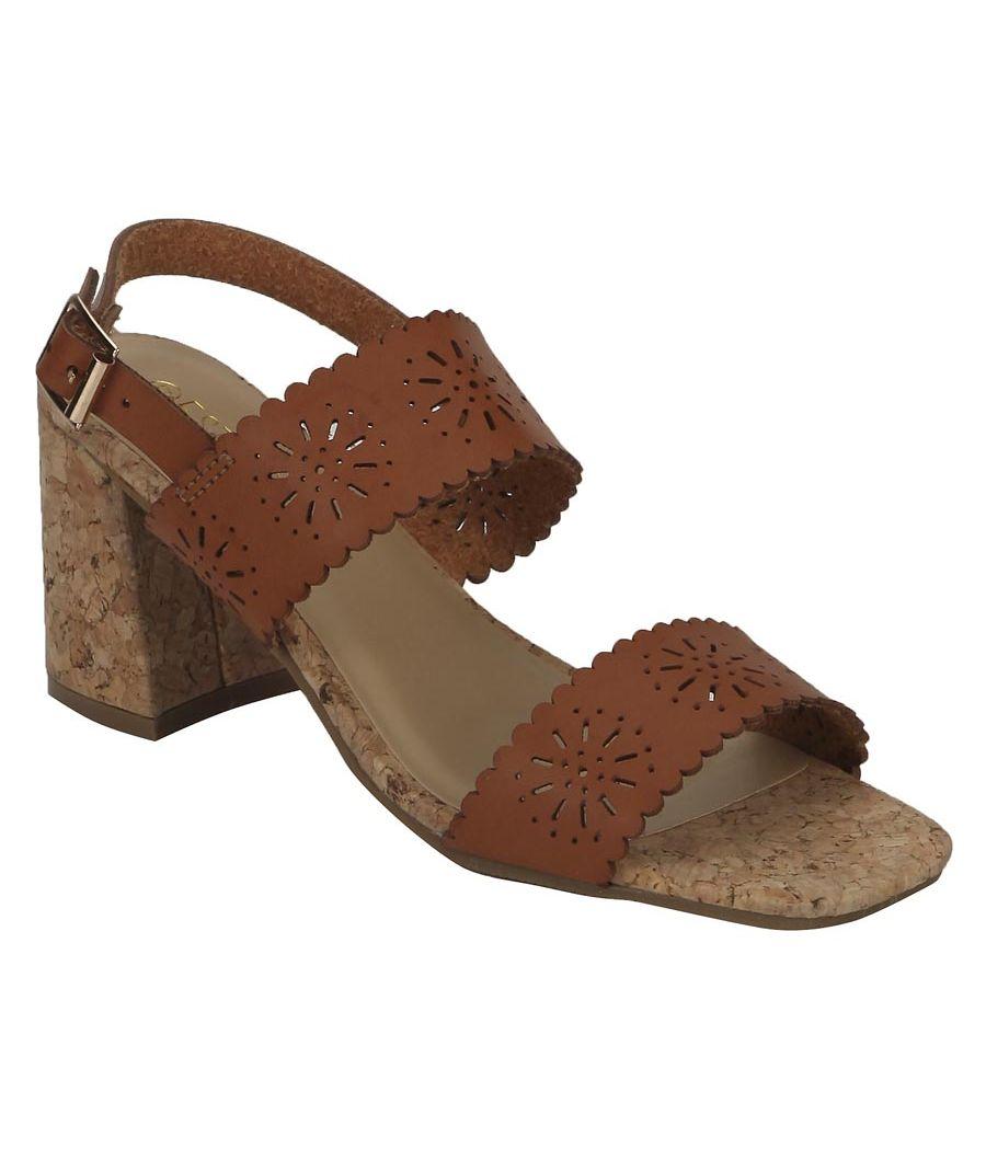 Estatos Leather Brown Coloured Broad Strap Block Heel Sandals