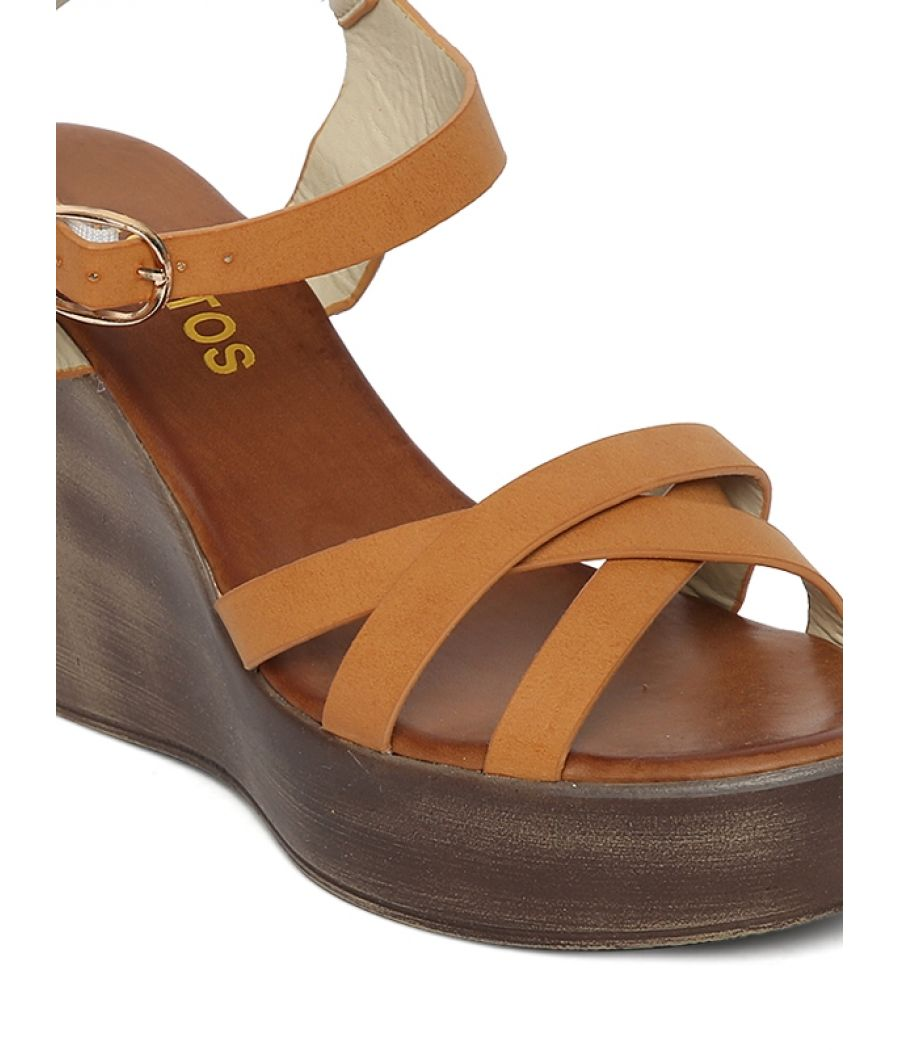 Estatos PU Beige Coloured Buckle  Closure Open Toe Platform Wedges