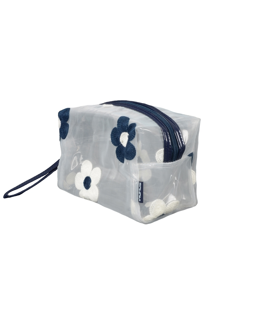 Aliado PVC transparent Zipper with Navy blue and white embroidery cosmetic bag/pouch