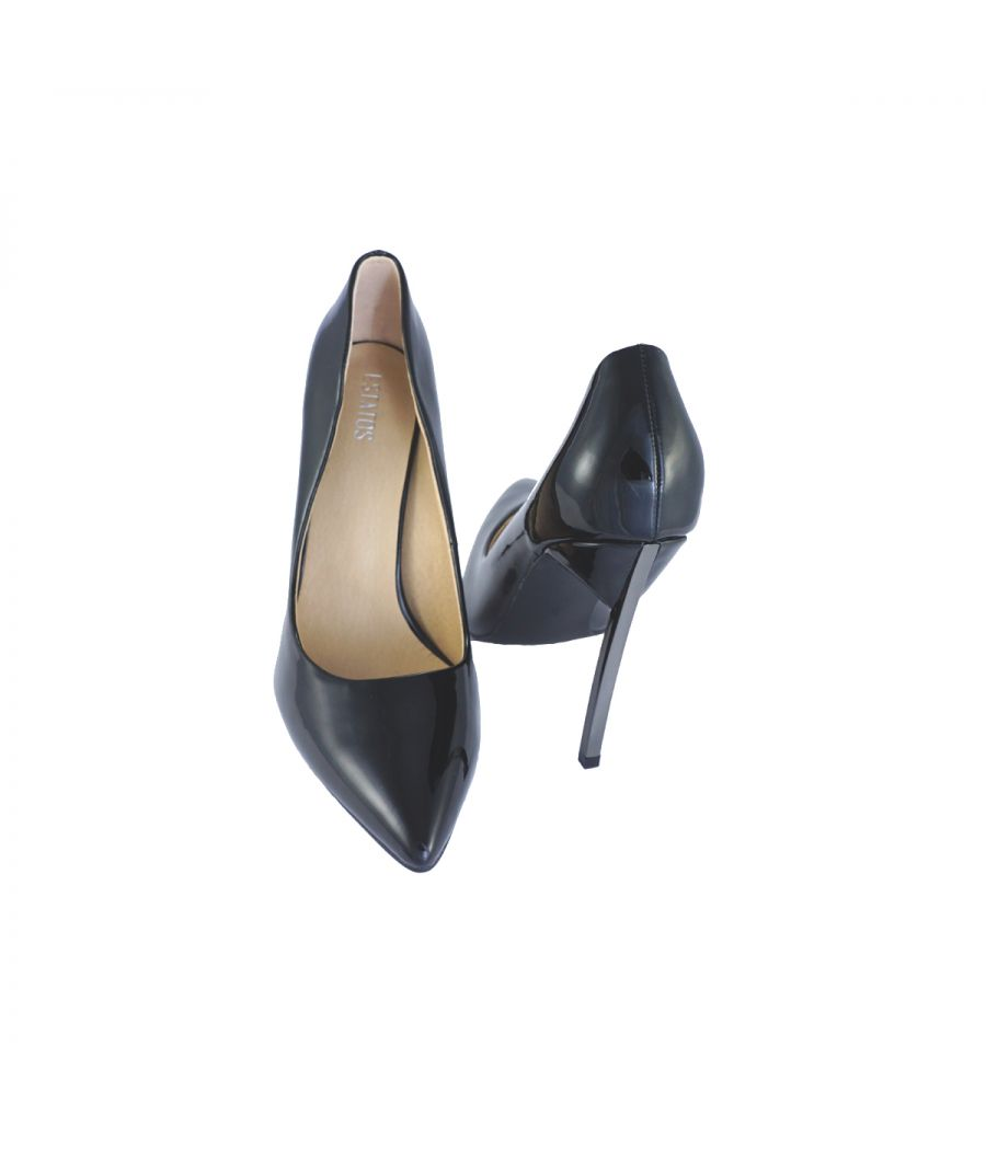 Estatos Synthetic Leather Pointed Heeled Black     Stilletos
