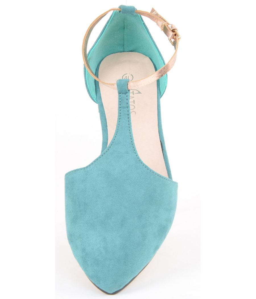 Estatos Suede Leather With Shiny Golden Strap Flat Green/Blue/Turquoise Sandals