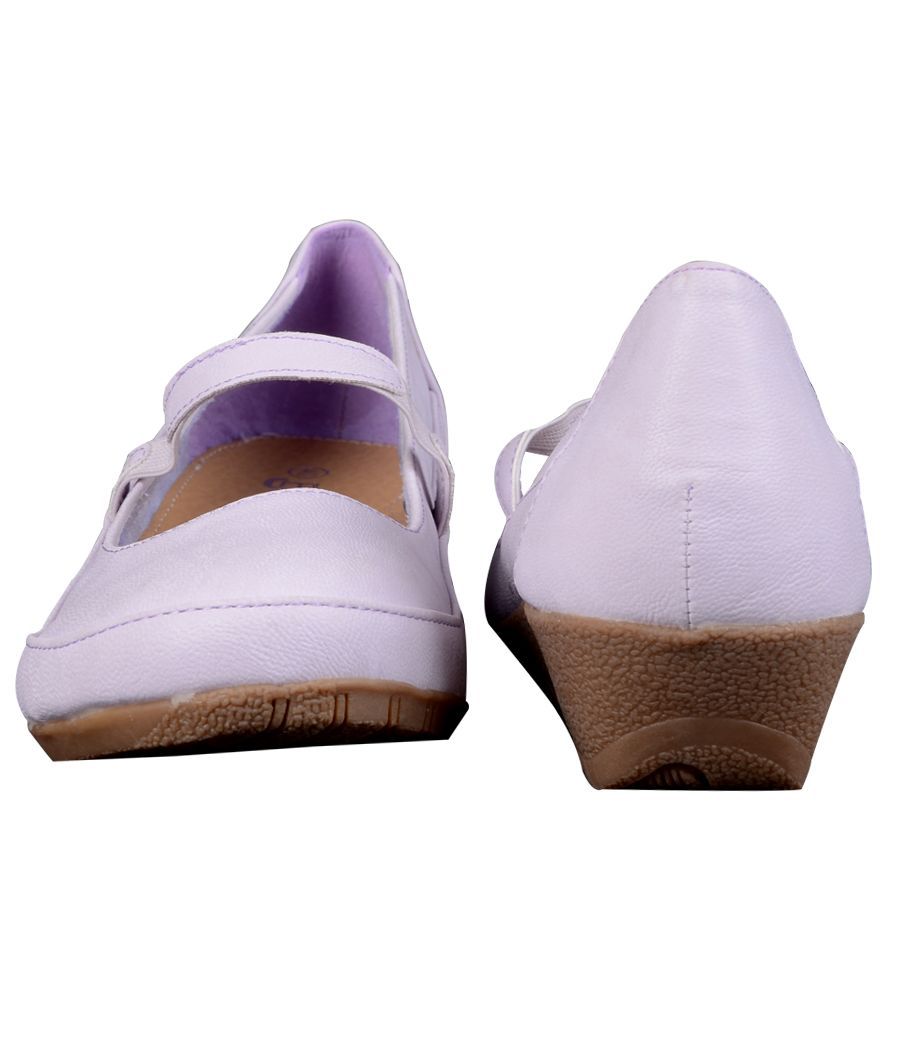 Estatos Synthetic Leather Front strap platform heeled Light pink/purple bellerina/shoes