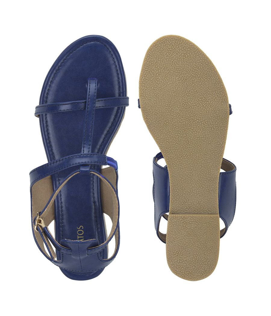 Estatos Summer Cool Leather Mesh Style Buckle Closure Blue Flat Sandals for Women