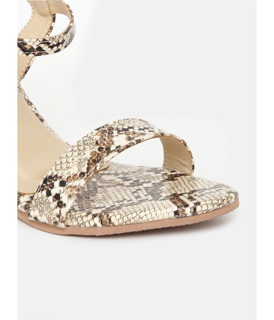 Estatos Leather Ankle Strap Block High Heeled Beige Sandals