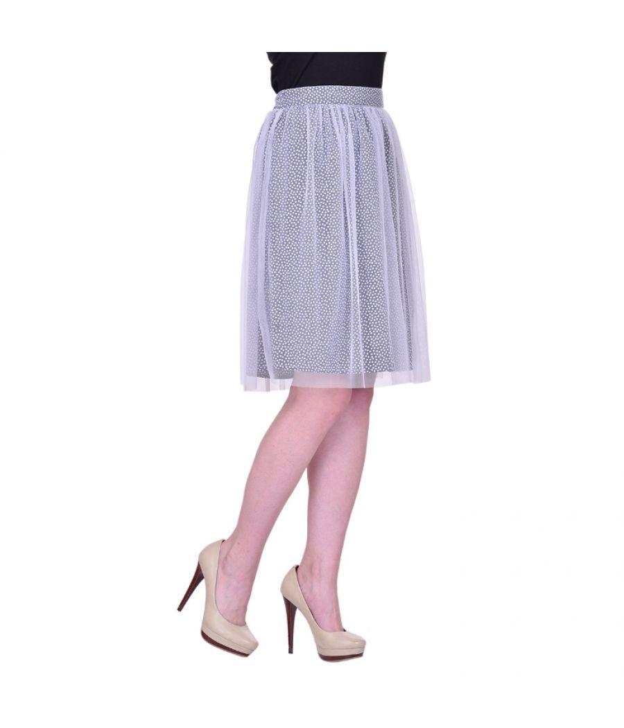 Estance Net Solid White Coloured A-line Midi Skirt