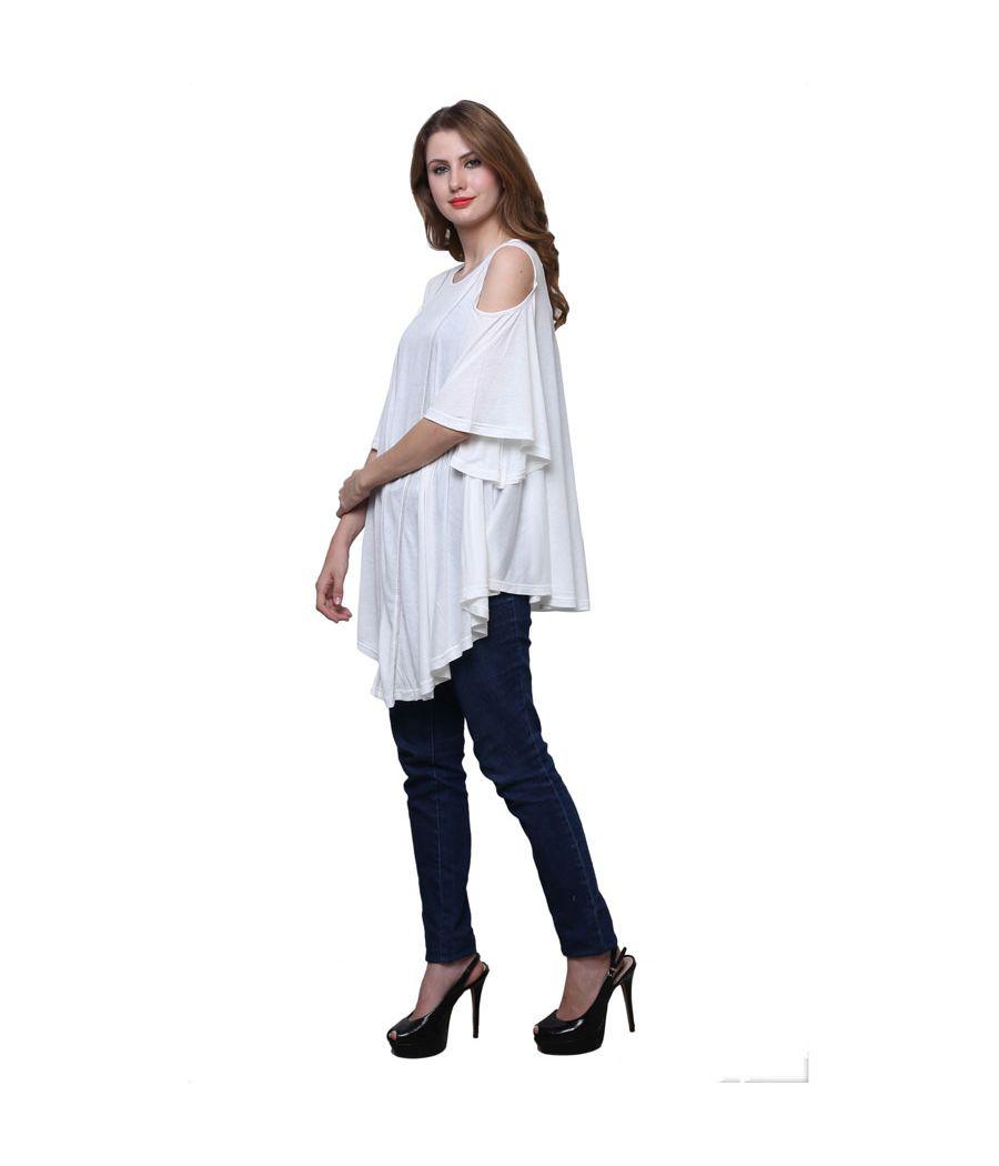 Estance Hosiery Solid Cold Shoulder White  Coloured Top