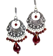 Silver Danglers with Maroon Pearls