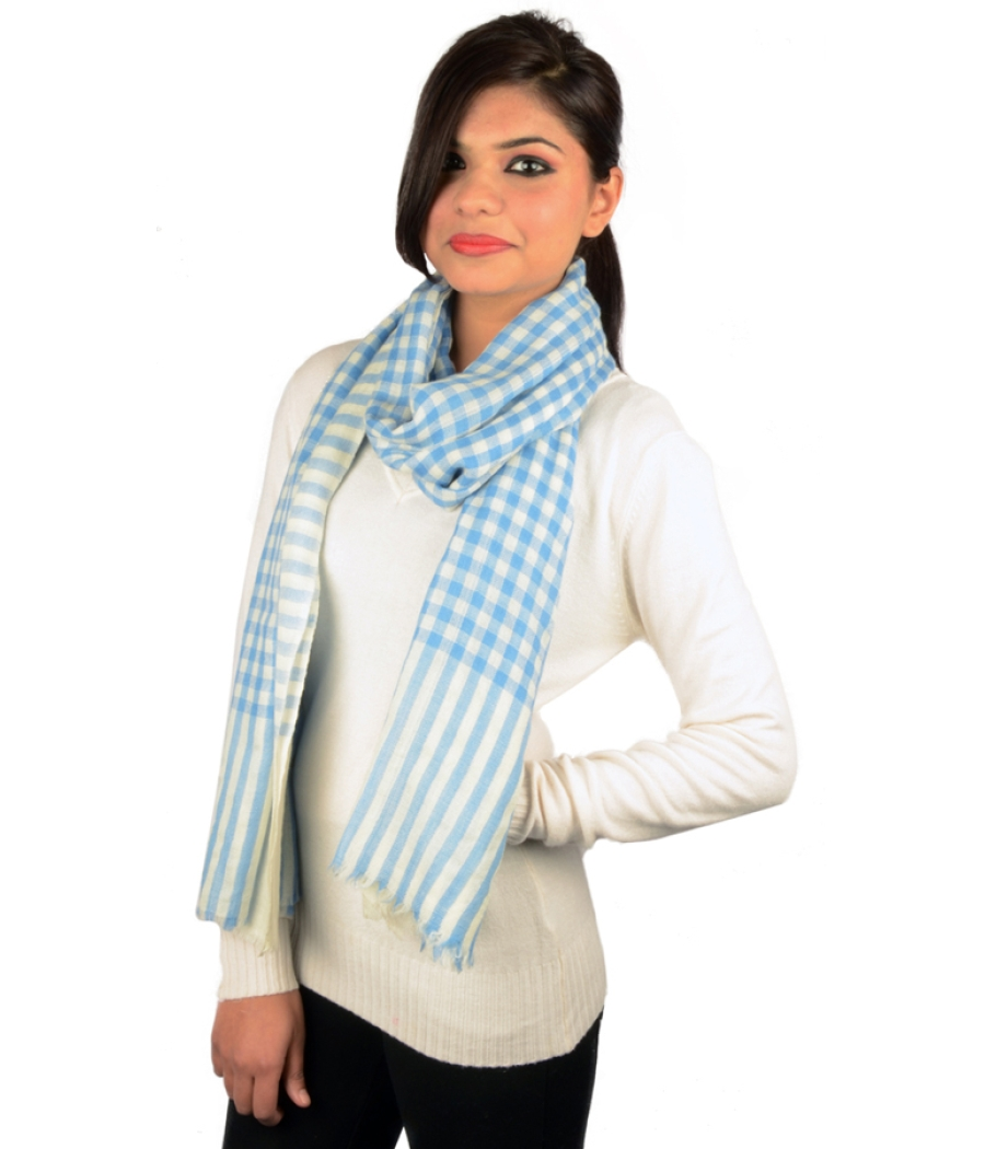 Blue Checked Pashmina Stole
