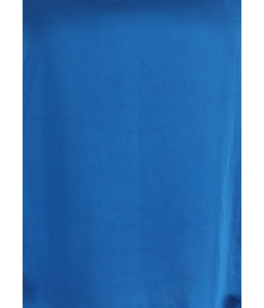 BYSI Crepe Plain Solid Beads Embellishment Blue V Neck Casual Top