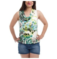 Jones Studio Plain Abstract Print White & Multi Coloured Sleeveless Cowl Neck Casual Top