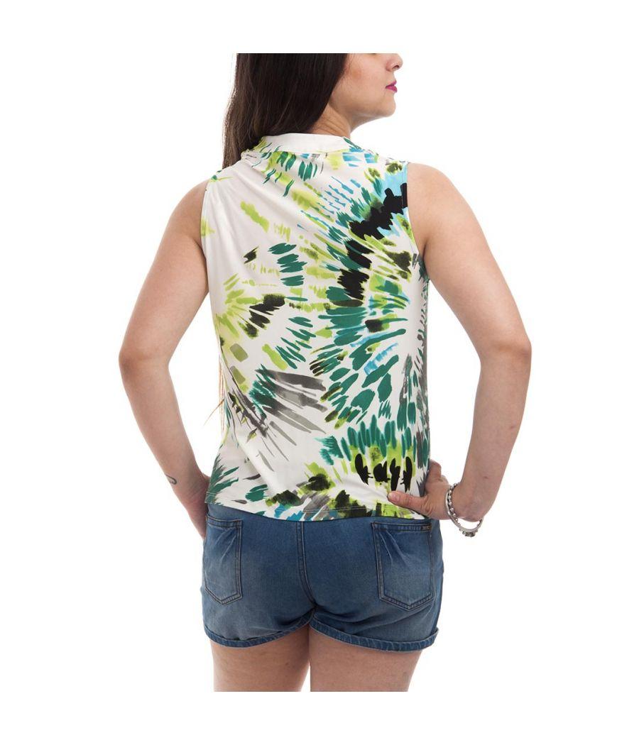 Jones Studio Plain Abstract Print White & Multi Coloured Sleeveless Cowl Neck Casual Top