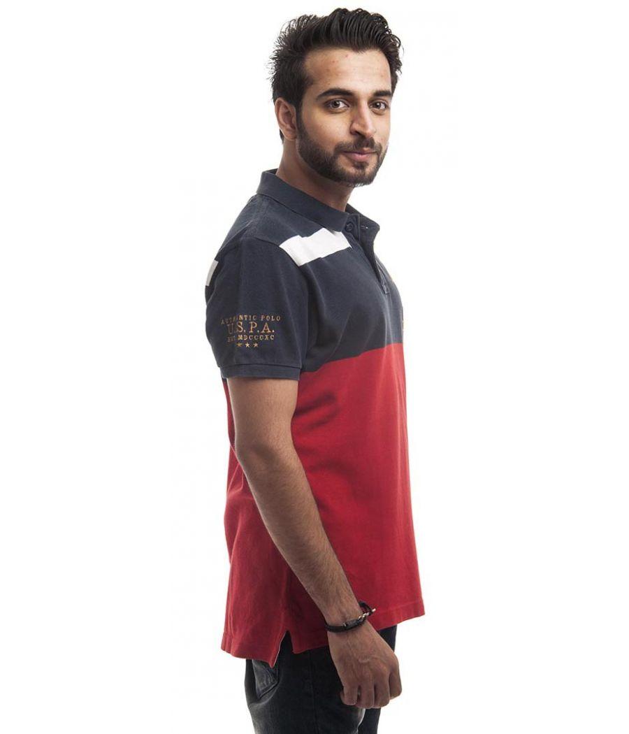 US Polo Assn Polycotton Plain Red & Blue Regular Fit Casual T-shirt