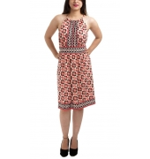 Etashee Certified Cotton Geometric Print White & Multi Sleeveless Casual A-line Midi Dress