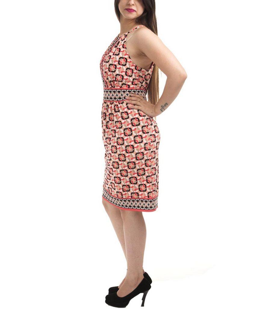 Etashee Certified Cotton Geometric Print White & Multi Sleeveless Casual A-line Midi Dress
