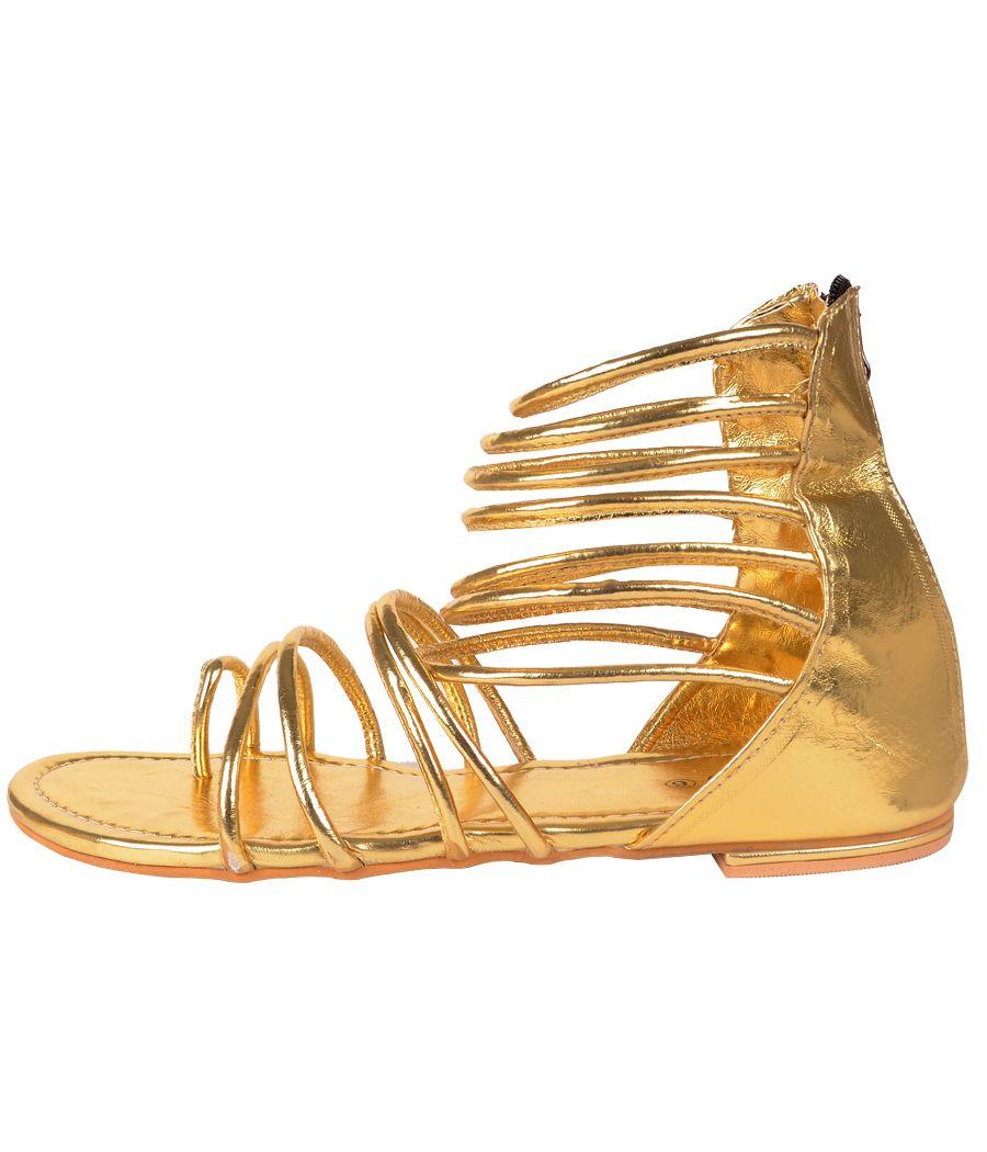 Estatos Zip Up Golden Gladiator Sandals