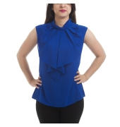 Zink Crepe Solid Navy Blue Sleeveless High Neck Pleated Casual Top