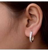 White Stone Round Earrings
