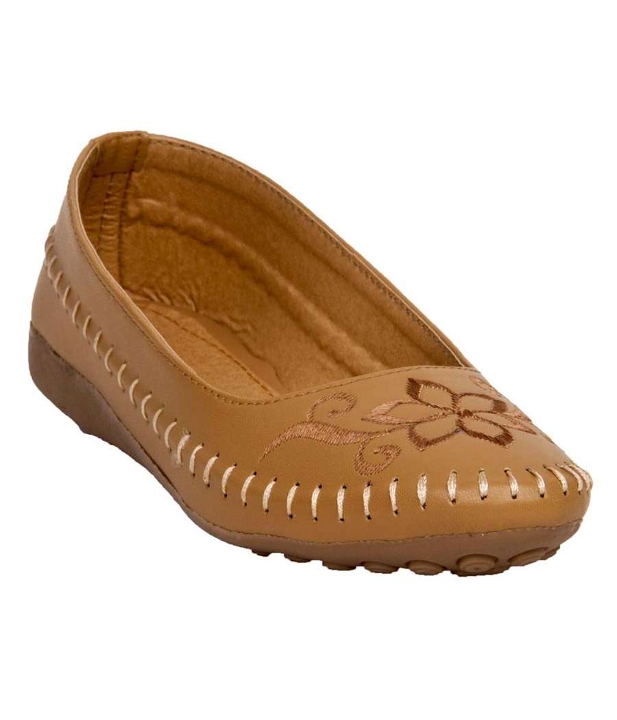 Kyraa Collection Synthetic Leather Brown Coloured Broad Toe Flat Bellies