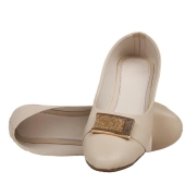 SLN Synthetic Leather Off White Broad Toe Flat Casual Bellies