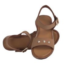 MCS Synthetic Leather Brown Coloured Open Toe Twin Strap Sandals